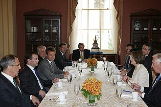 Pelosi meeting with Russian president Dmitry Medvedev, foreign minister Sergey Lavrov, and ambassador Sergey Kislyak, June 2010 Dmitry Medvedev in the United States 25 June 2010-2.jpeg
