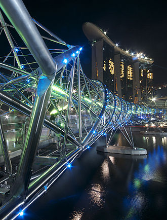 Philip Cox - The Helix bridge at night, located in Marina Bay, Singapore.
