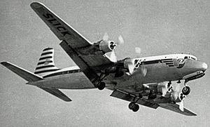Slick Airways - A Slick Airways Douglas DC-6 landing at RAF Burtonwood, England, in 1956.