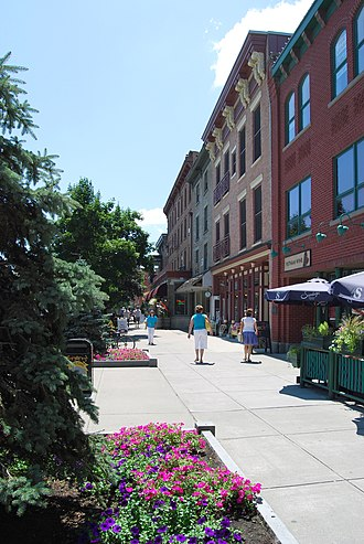 Saratoga Springs, New York - A view of downtown, looking south along Broadway from its intersection with Caroline Street.