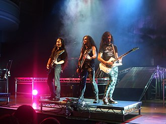 DragonForce - Herman Li, Frédéric Leclercq and Sam Totman in Melbourne in 2009
