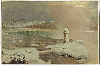 Terrapin Point - Drawing, Niagara River and Falls in Snow, March 1856, by Frederic Edwin Church, shows the former boardwalk and Terrapin Tower