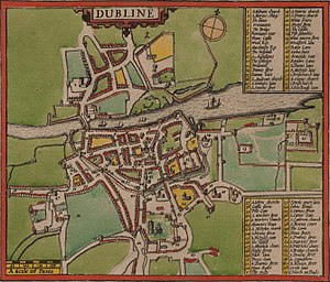 St. Mary's Abbey, Dublin - 1610 map of Dublin by John Speed