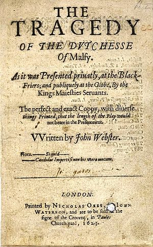 John Webster - Title page of The Duchess of Malfi, 1623