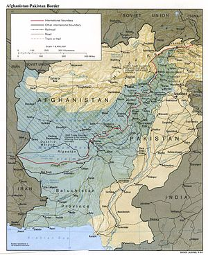 Afghans in Pakistan - The border between Afghanistan and Pakistan is the Durand Line. Nearly all Afghan refugee camps are located in Pakistan's Khyber Pakhtunkhwa and Balochistan and the Federally Administered Tribal Areas (FATA) (in blue).
