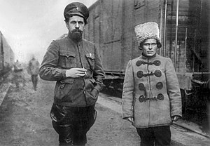 Nestor Makhno - Red Army commander Pavel Dybenko and Nestor Makhno, 1919