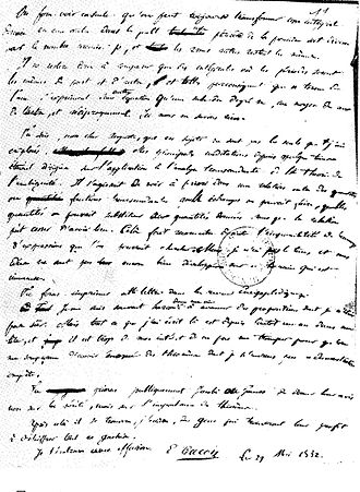 """Évariste Galois - The final page of Galois' mathematical testament, in his own hand. The phrase """"to decipher all this mess"""" (""""déchiffrer tout ce gâchis"""") is on the second to the last line."""