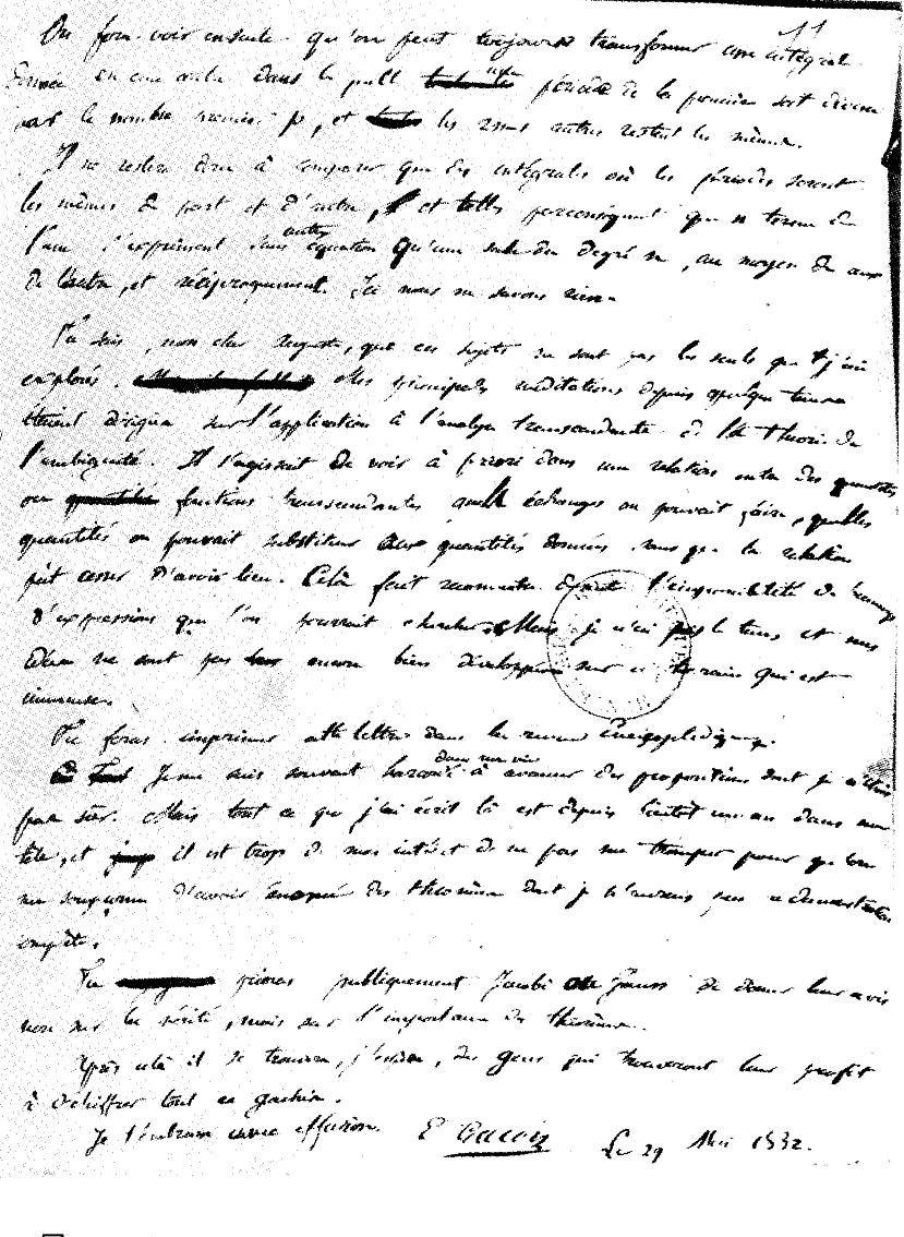 E. Galois Letter