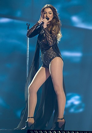 """Iveta Mukuchyan - Mukuchyan performing """"LoveWave"""" during a Eurovision rehearsal."""