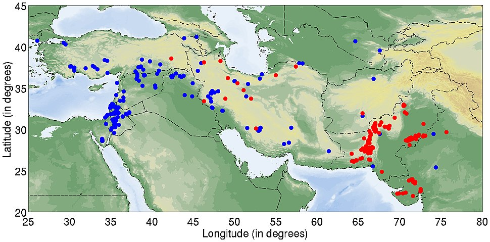 Early Neolithic sites in the Near East and South Asia 10,000-3,800 BCE