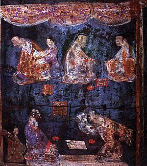 Liubo - Mural from an Eastern Han Dynasty tomb at Luoyang, Henan showing a pair of Liubo players in the foreground, the player on the right with his right hand raised up as if about to throw down the six throwing sticks