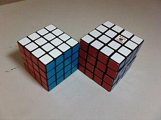Rubik's Revenge - An Eastsheen cube is on the left, and an official Rubik's Revenge is on the right.