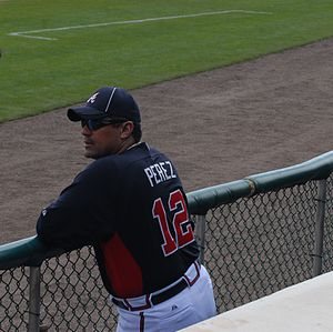 Eddie Pérez (baseball) - Pérez before a Spring Training game