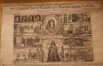 "Edmund Berry Godfrey - Contemporary newspaper with the headline ""Sir Edmund Berry Godfrey's Murder Made Visible""."