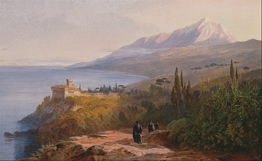 Edward Lear - Mount Athos and the Monastery of Stavronikétes - Google Art Project