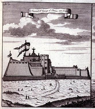 """Elmina Castle - """"The Castle of St. George d'Elmina, one side of it"""" in 1704."""