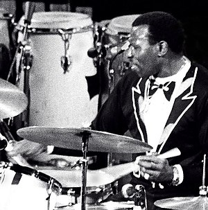 Traditional grip - Elvin Jones playing drum kit using traditional grip, 1976