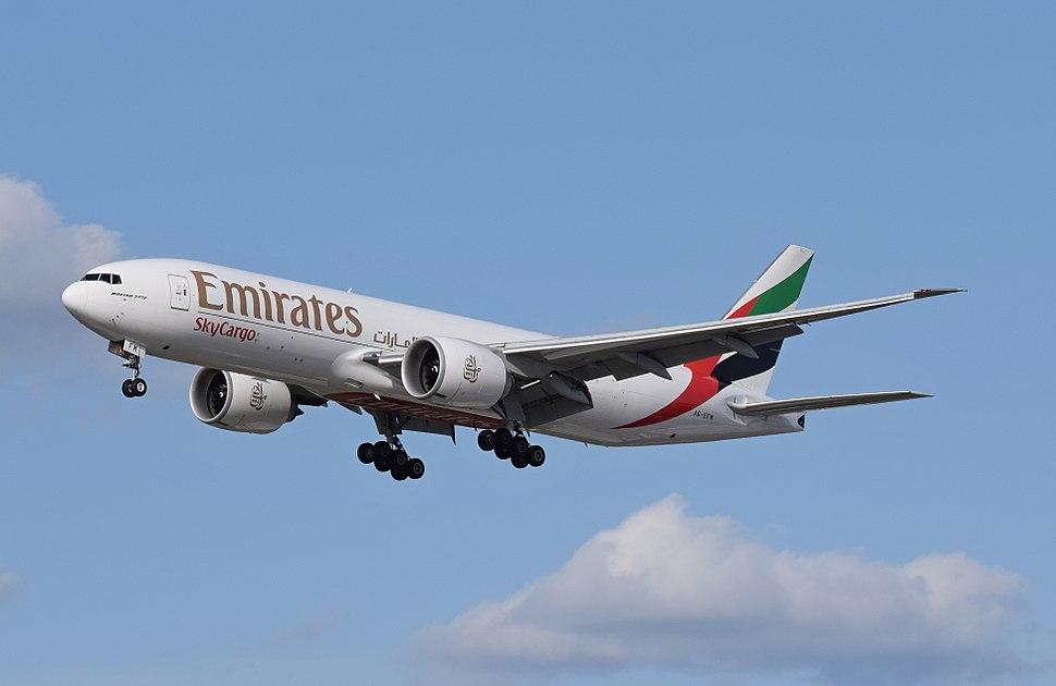 Emirates Boeing 777F (A6-EFM) arrives London Heathrow 11Apr2015 arp