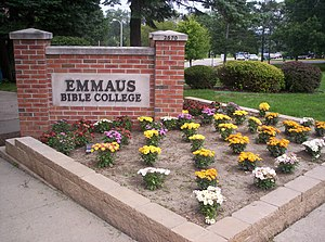 The sign directly in front of Emmaus Bible College