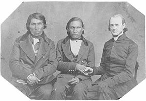 James Lloyd Breck - Breck (right) with Enmegahbowh (The Rev. John Johnson) (left) and Isaac Manitowab (center).