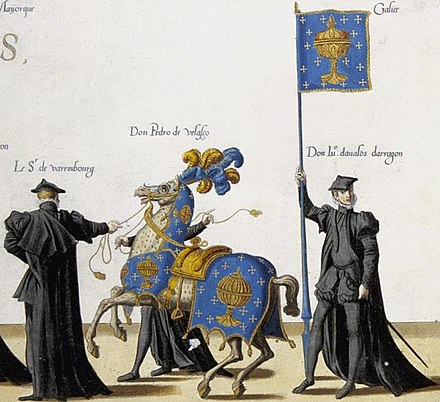 Flag and arms of the Kingdom of Galicia (16th century), after the funeral of Emperor Charles V, also king of Galicia, by Joannes and Lucas Doetecum Escudo reino de Galicia - Kingdom of Galicia.jpg