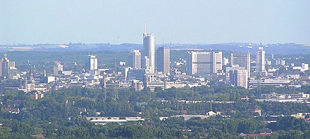Essen is the second largest city of the Ruhr Essen-Panorama.jpg