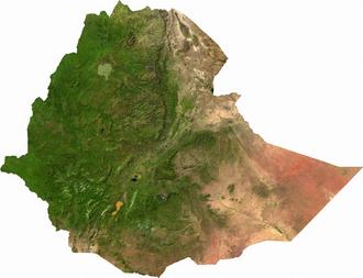 Geography of Ethiopia - A satellite image of Ethiopia.