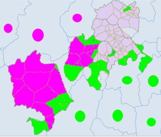 Jiulong County - Light green -Yi. Red -Tibetan.