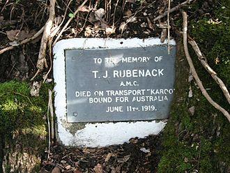 Eumundi War Memorial Trees - Plaque for T. J. Rubenack, 2009