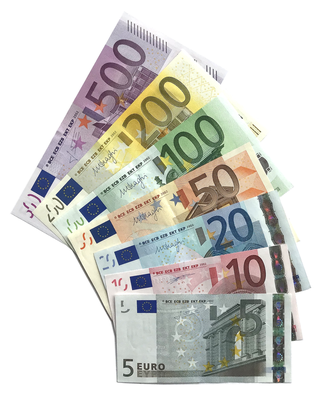 Euro banknotes from the first series (The Ages and Styles of Europe) (2002-2013) Euro banknotes, First series.png