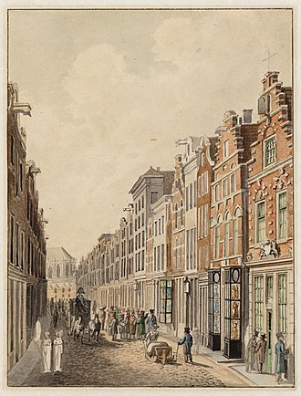 Estienne Roger - Roger's bookshop in Kalverstraat was the first or second on the right on the corner at the Gapersteeg.