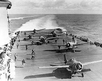 Marc Mitscher - F4F Wildcats of VF-8 prepare to launch off USS Hornet.