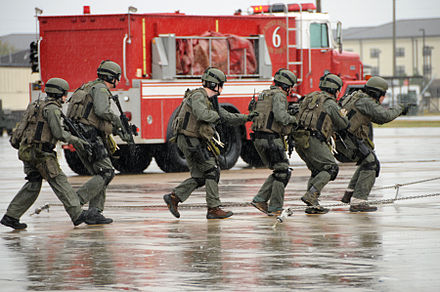 A FBI SWAT team conducts an anti-hijacking exercise at Keesler Air Force Base - Keesler Air Force Base