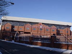 Villa Park - The brick facade of the Holte End, rebuilt in 1994 in the style of the previous stand