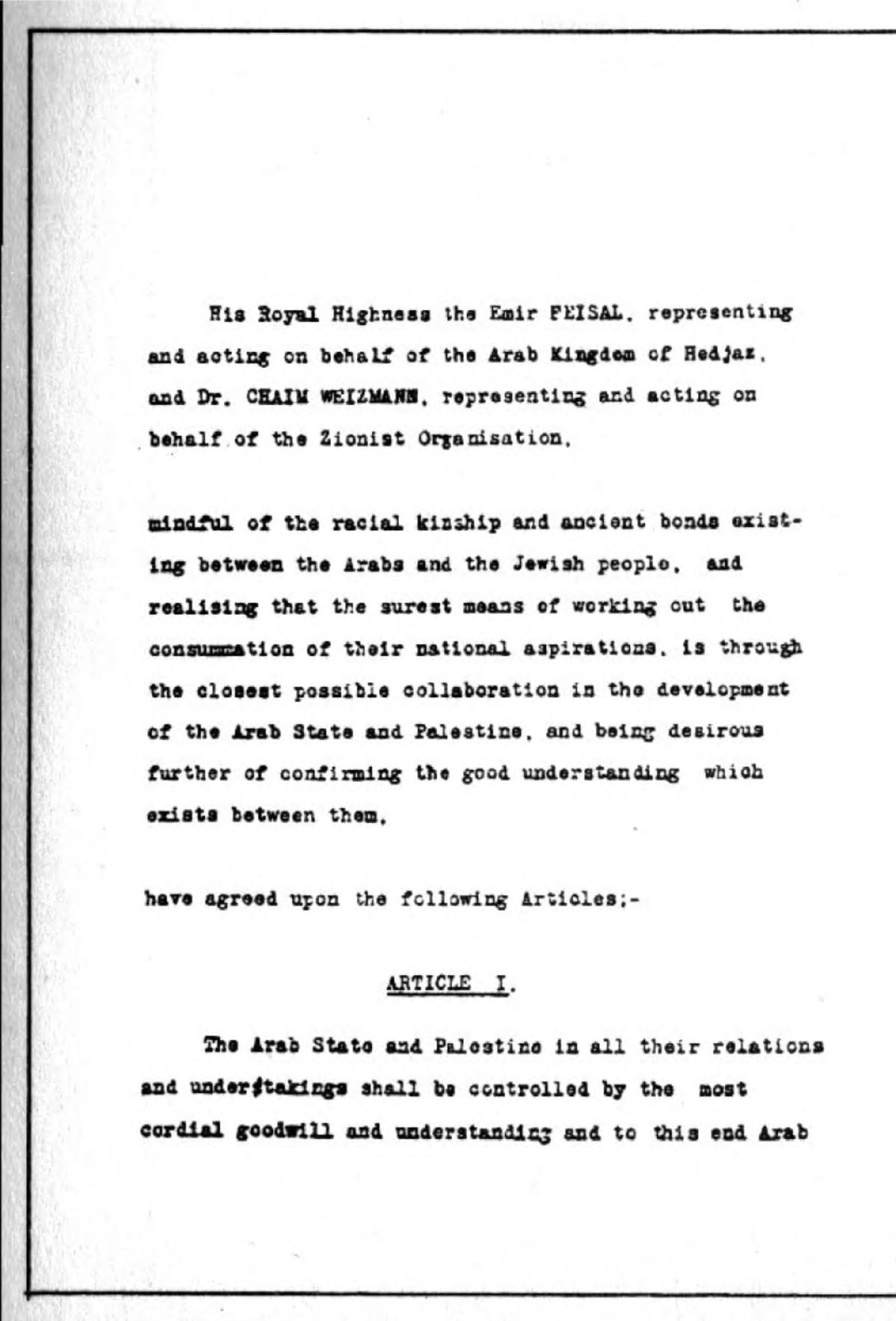 faisal weizmann agreement wikipedia