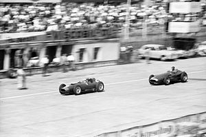 Peter Collins (racing driver) - Collins, in a Ferrari 801, is chased by Juan Manuel Fangio's Maserati 250F, during the 1957 German Grand Prix