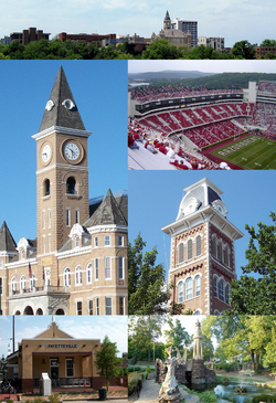 Clockwise from top: Fayetteville skyline around the Historic Square, Donald W. Reynolds Razorback Stadium, Old Main, Wilson Park, the Fayetteville Depot, and the Washington County Courthouse.