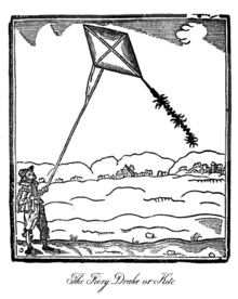 kite   wikipedia woodcut print of a kite from john bates  book the mysteries of nature  and art in which the kite is titled how to make fire drakes