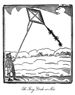 English: Man flying a kite. The caption is a l...