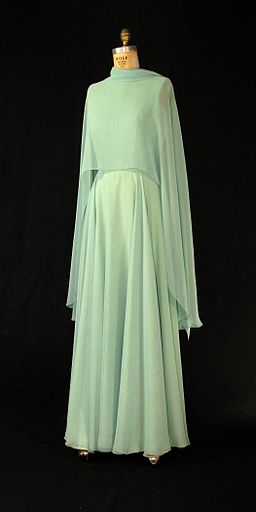 First Lady Betty Ford's green chiffon gown with cape