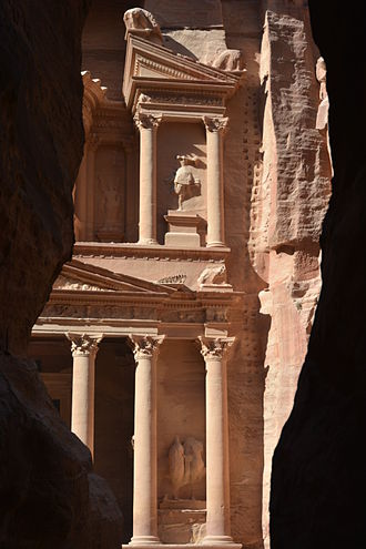 Al-Khazneh - The first glimpse of Petra's Treasury (Al-Khazneh) upon exiting the Siq.