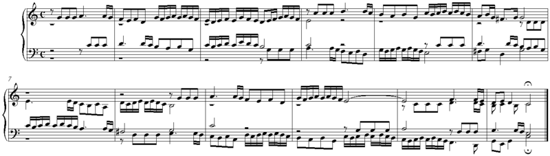 """Example of stretto fugue in a quotation from Fugue in C major by Johann Caspar Ferdinand Fischer who died in 1746. The subject, including an eigth note rest, is seen in the soprano voice, starting on beat 1 bar 1 and ending on beat 1 bar 3, which is where the answer would usually be expected to begin. As this is a stretto the answer already takes place in the tenor voice, on the third quarter note of the first bar, therefore coming in """"early""""."""