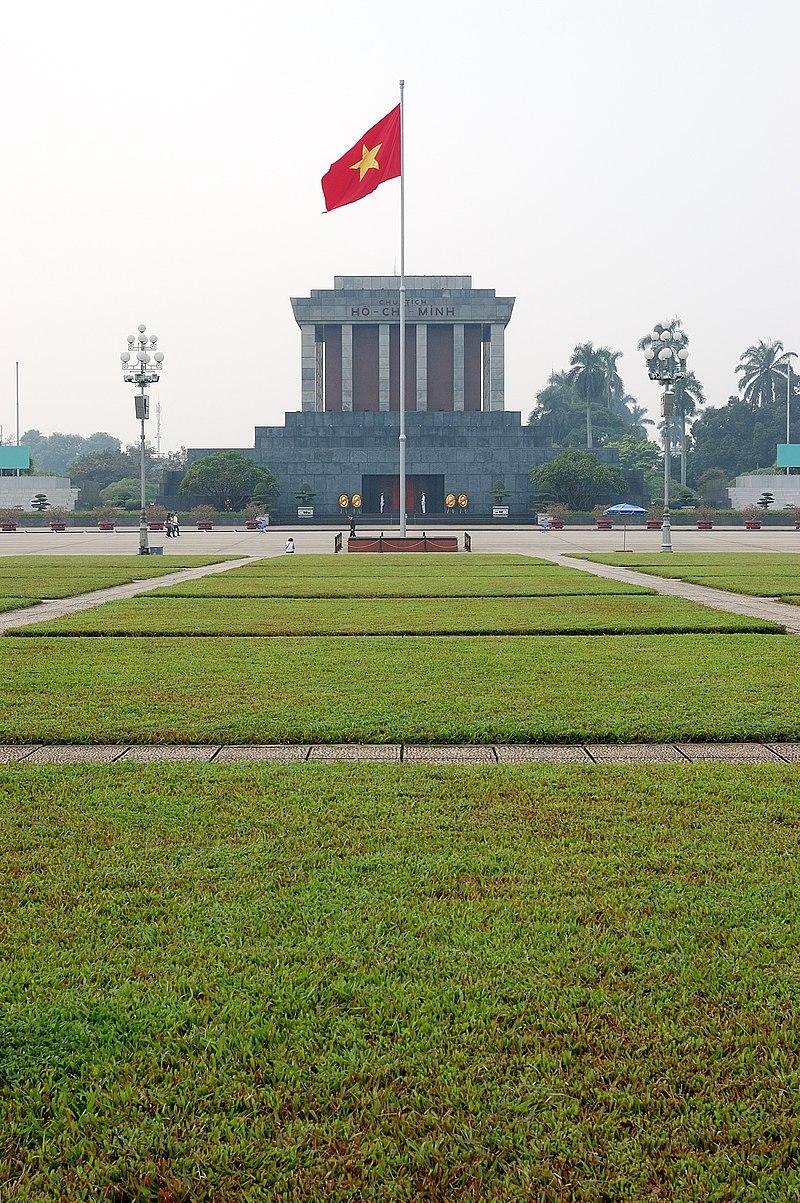 Flag of Vietnam in front of Ho Chi Minh mausoleum.jpg