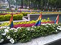 Flags on a building on the Mexico City Pride 2016.jpg