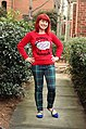 Fleece Navidad Tacky Christmas Sweater, Green Plaid Skinny Pants, and Cobalt Blue Flats (23662091216).jpg