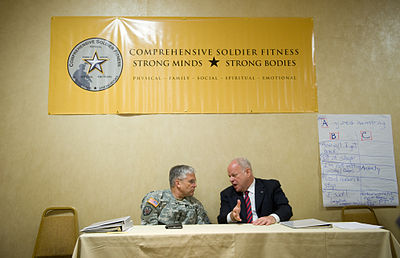 Chief of Staff of the Army, Gen. George W. Casey Jr., talks with Dr. Martin Seligman of the University of Pennsylvania. Thirty-two Army Soldiers and civilians attended a five-day Master Resilience Training course at the university as part of Comprehensive Soldier Fitness