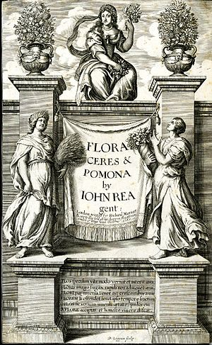 John Rea (horticulturalist) - Flora, Ceres, and Pomona, secondary title-page by David Loggan, 1665