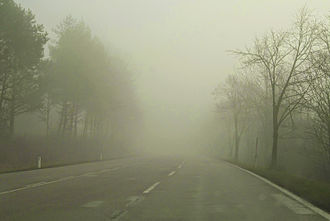 Fog - Heavy fog on a road near Baden, Austria