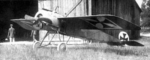 "1915 in aviation - Leutnant Kurt Wintgens' ""E.5/15"" Fokker Eindecker production prototype, as it appeared for the July 1 combat engagement"