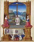 Cristo, el estigma de la cruz y del paisaje, rodeado de los Duques de Saboya rodillas